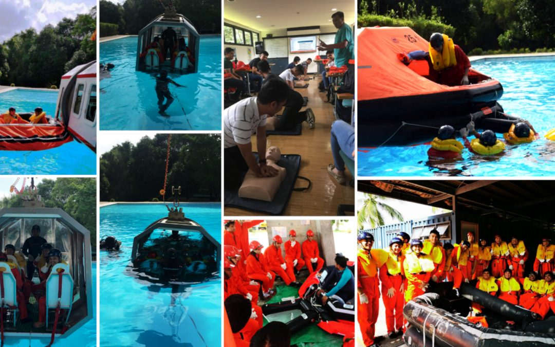 Batch 1 and 2 Students Survive Helicopter Underwater Escape Training (HUET)